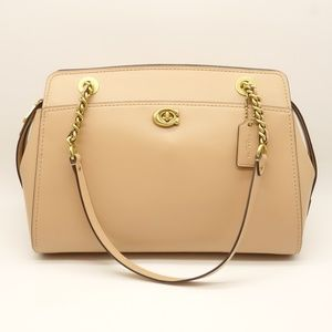 NWT COACH Parker Carryall Satchel Tan Leather Bag